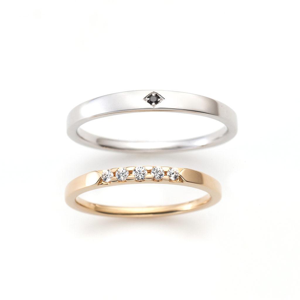 One & Only 結婚指輪 アンティーク ストレート プラチナ イエローゴールド