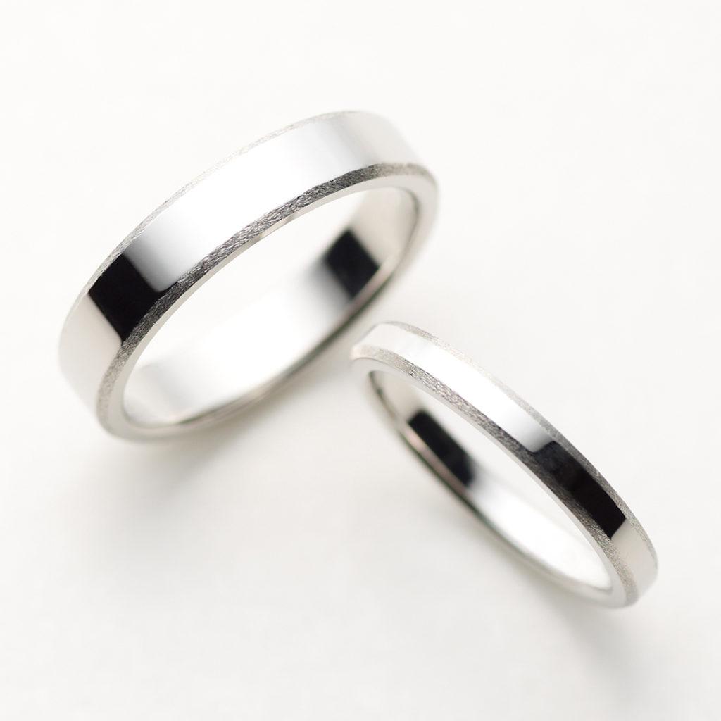 PEAL 結婚指輪 シンプル アンティーク ストレート 幅広 プラチナ