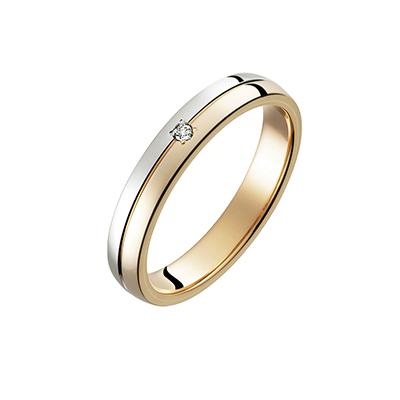 Password 結婚指輪 シンプル アンティーク ストレート 幅広 ピンクゴールド コンビ