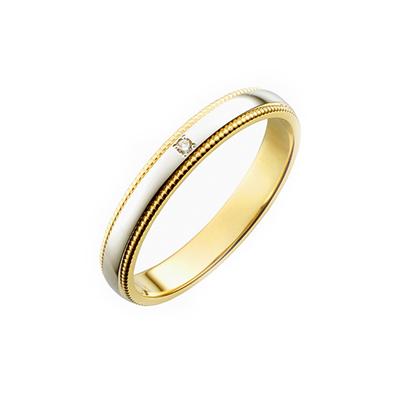 PIM918-E801ZS 結婚指輪 シンプル アンティーク ストレート 幅広 イエローゴールド コンビ
