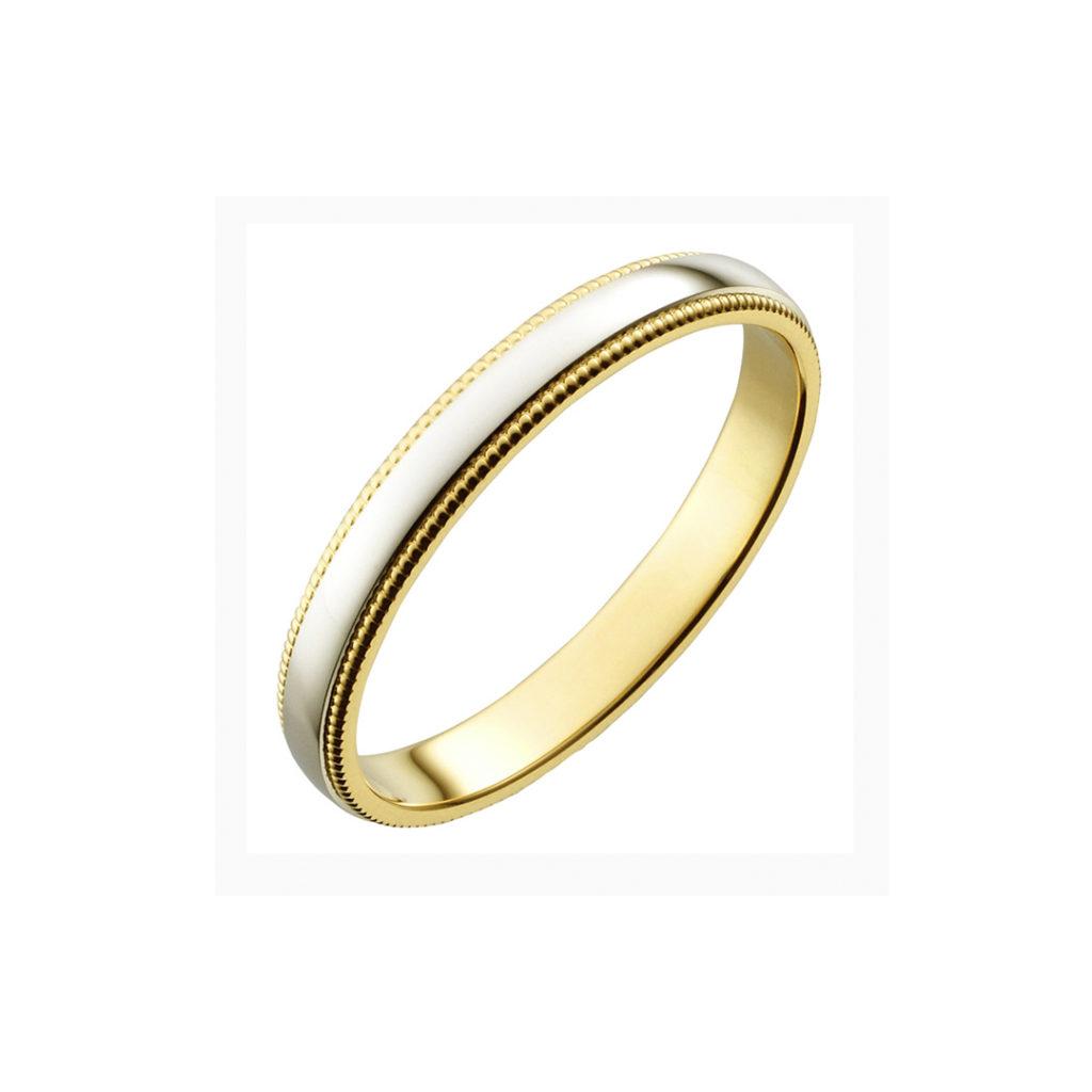 Kindness 結婚指輪 シンプル アンティーク ストレート イエローゴールド コンビ