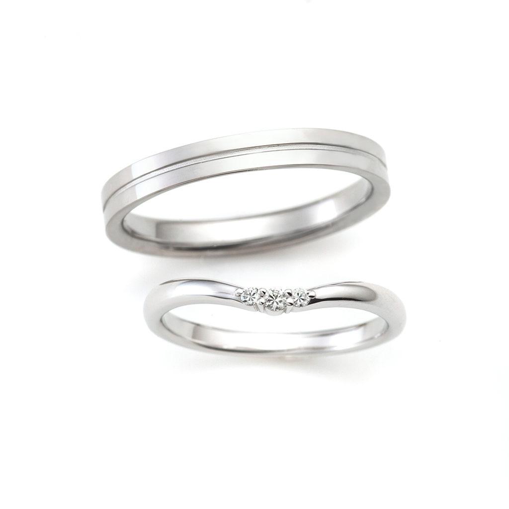 PLUME 結婚指輪 シンプル V字(ウェーブ) プラチナ