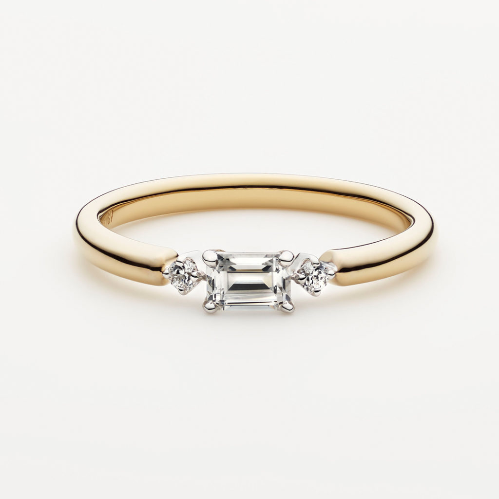 PUENTE 婚約指輪 シンプル ストレート プラチナ イエローゴールド