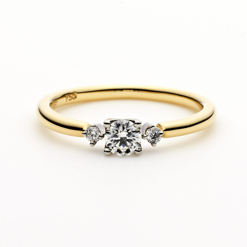 PUENTE 婚約指輪 シンプル 個性派 ストレート プラチナ イエローゴールド コンビ