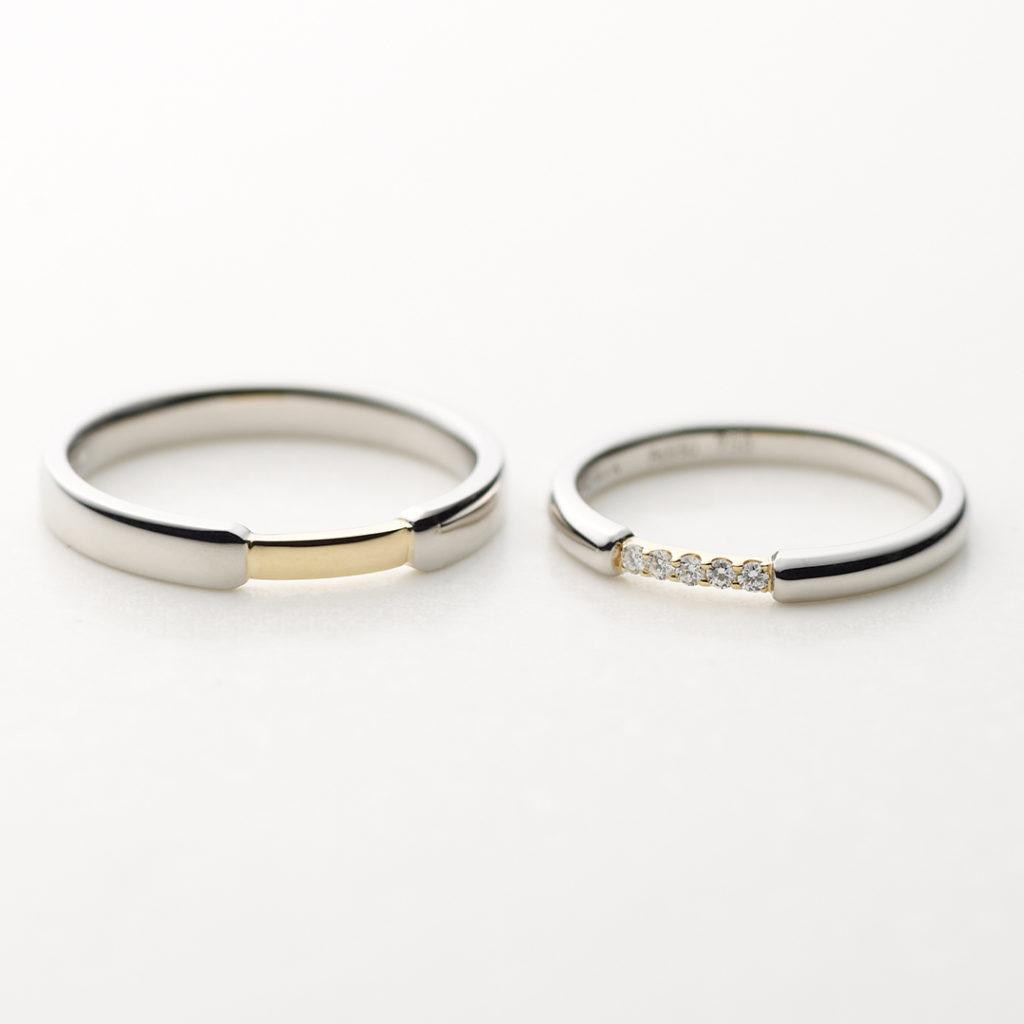 PUENTE 結婚指輪 シンプル 個性派 ストレート プラチナ イエローゴールド コンビ