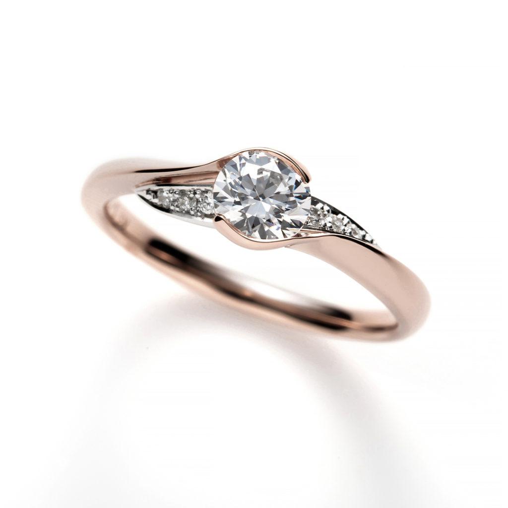 Parisien 婚約指輪 エレガント キュート S字(ウェーブ) ピンクゴールド コンビ
