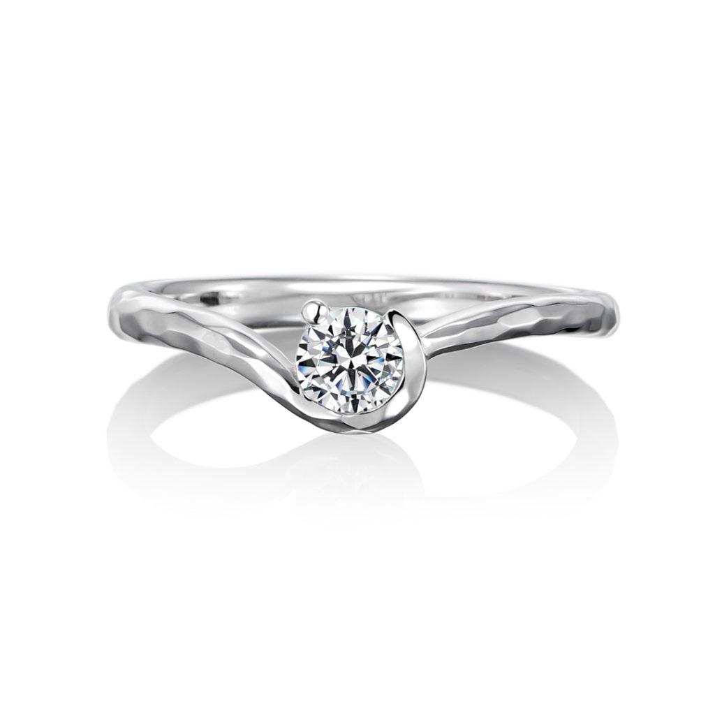 Plaisir  婚約指輪 エレガント アンティーク V字(ウェーブ) プラチナ