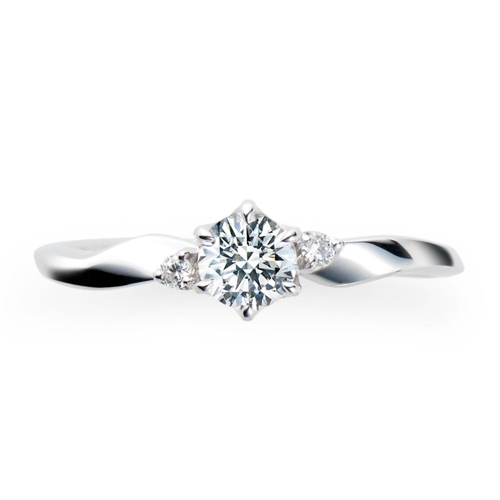 Pur 婚約指輪 キュート 個性派 S字(ウェーブ) プラチナ