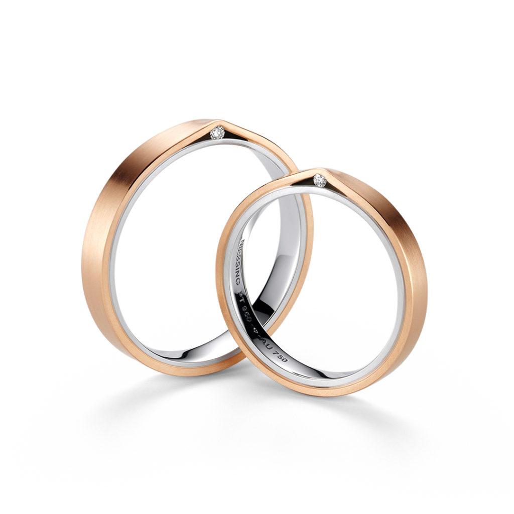 NIESSING REFUGIUM 結婚指輪 シンプル 個性派 ストレート ピンクゴールド