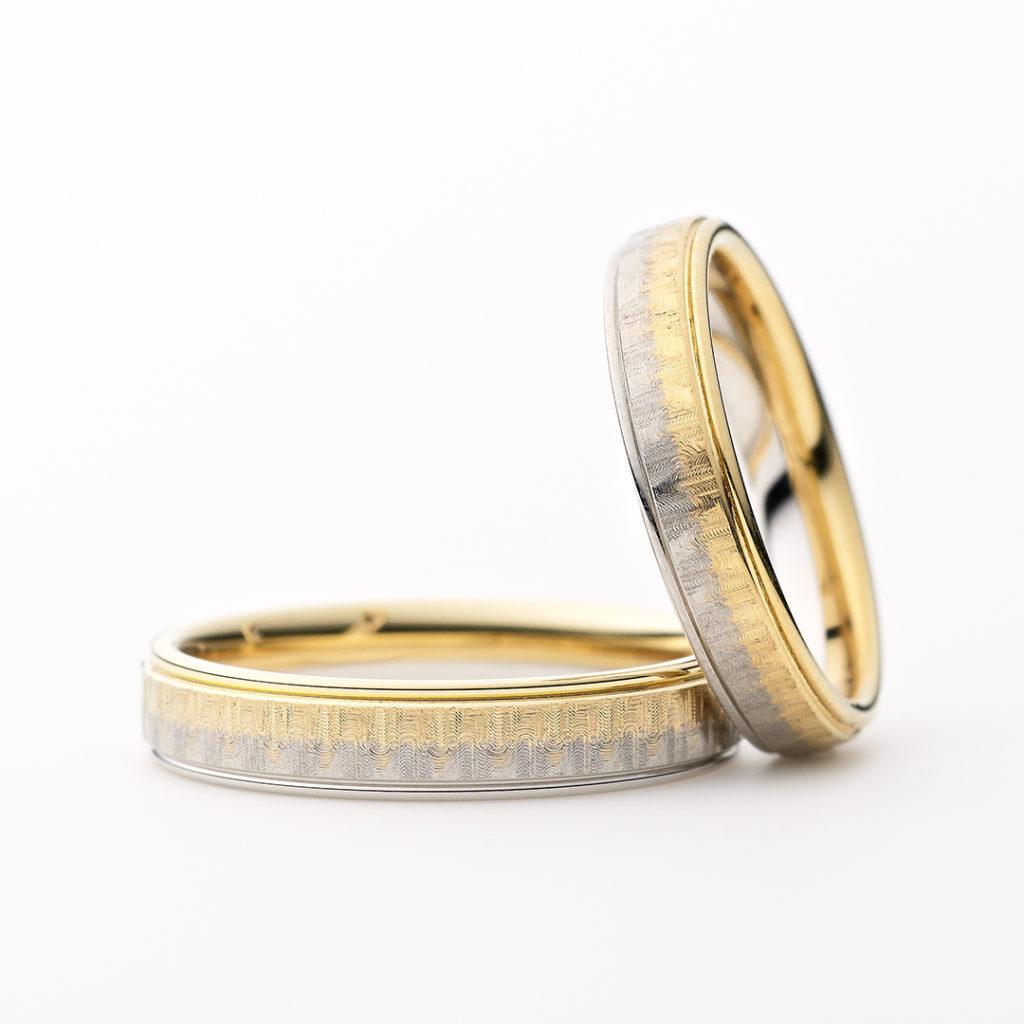REYON 結婚指輪 シンプル アンティーク 個性派 ストレート プラチナ イエローゴールド コンビ