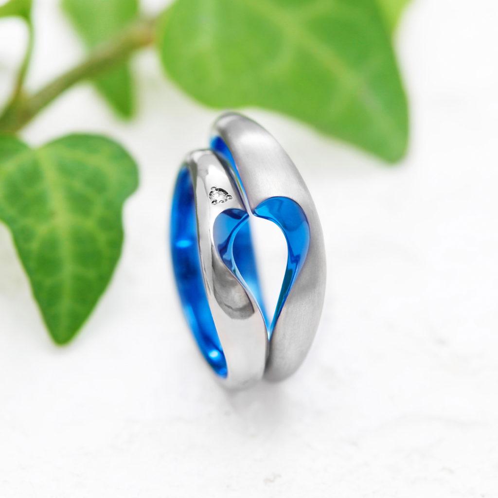 RIPPLE 結婚指輪 シンプル 個性派 S字(ウェーブ) 幅広 ジルコニウム