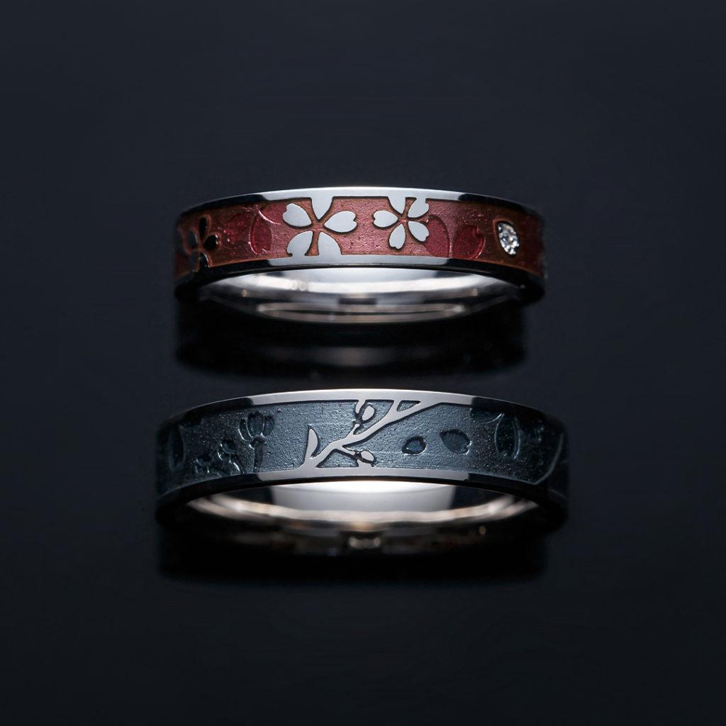 桜月夜 結婚指輪 個性派 ストレート 幅広 ホワイトゴールド