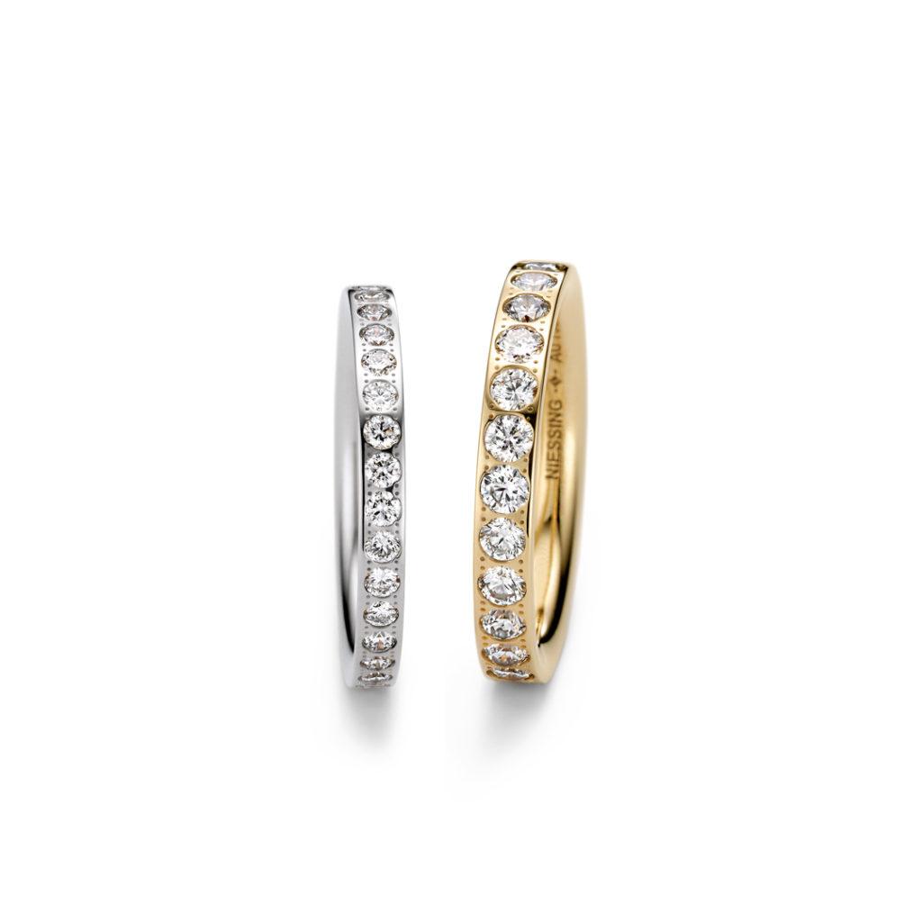 NIESSING SATELLITE CURVES 結婚指輪 シンプル ストレート エタニティ プラチナ ピンクゴールド