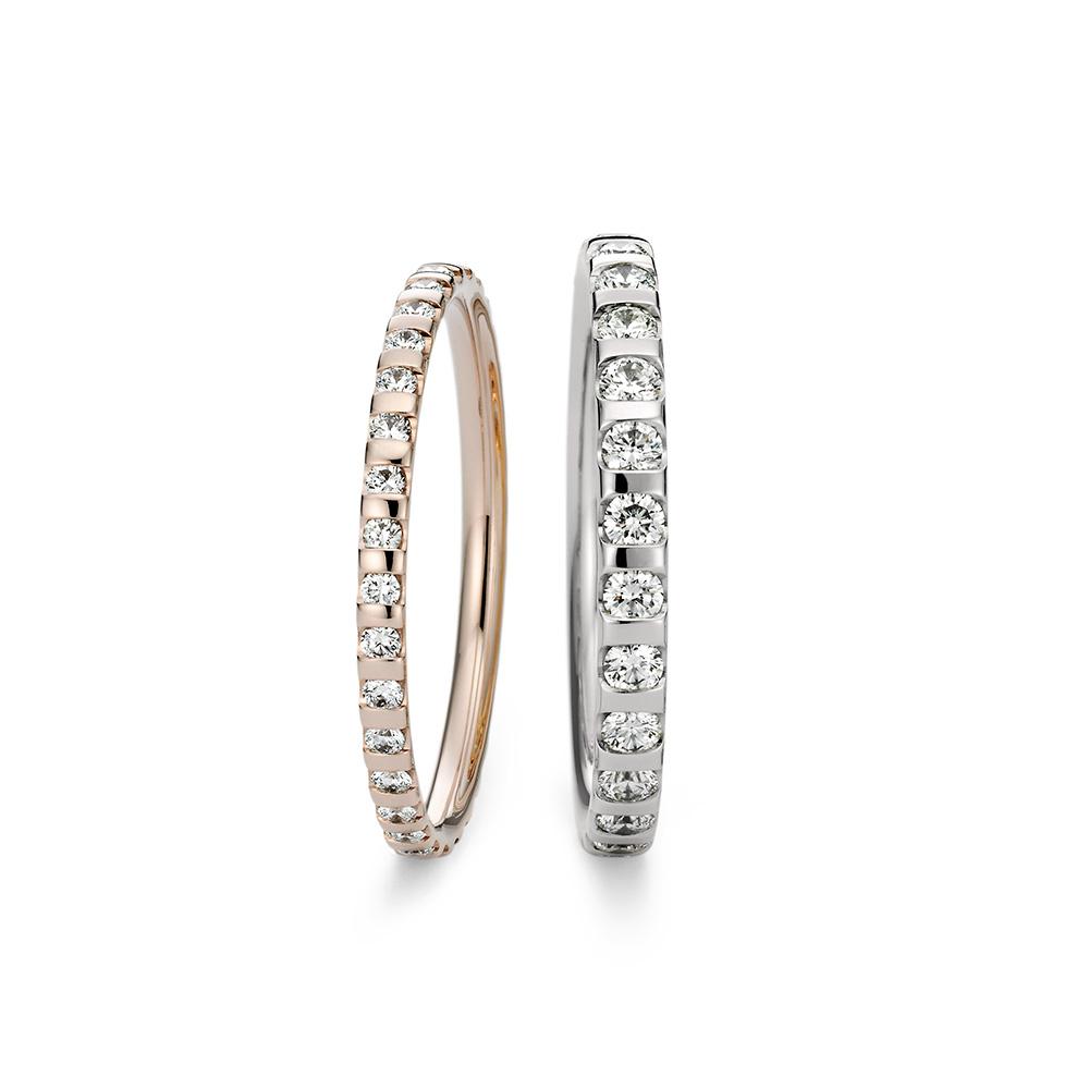 NIESSING MEMORY 結婚指輪 シンプル エレガント ストレート エタニティ プラチナ ピンクゴールド