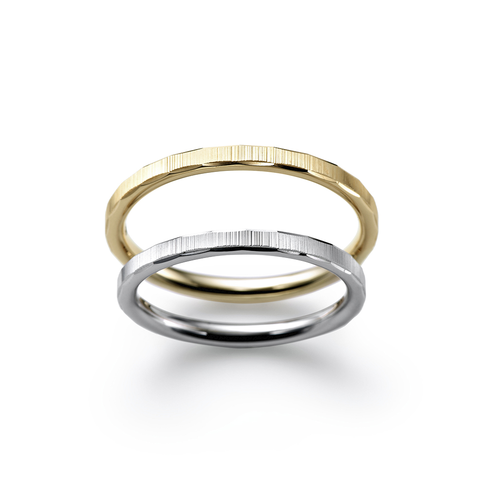 SHIPPO 結婚指輪 シンプル ストレート プラチナ イエローゴールド