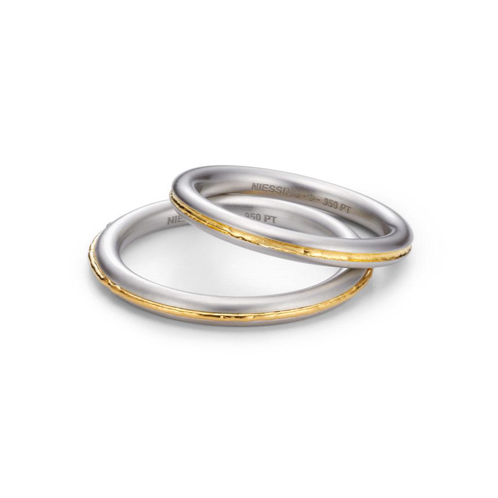 NIESSING SOULMATE 結婚指輪 シンプル 個性派 ストレート プラチナ イエローゴールド