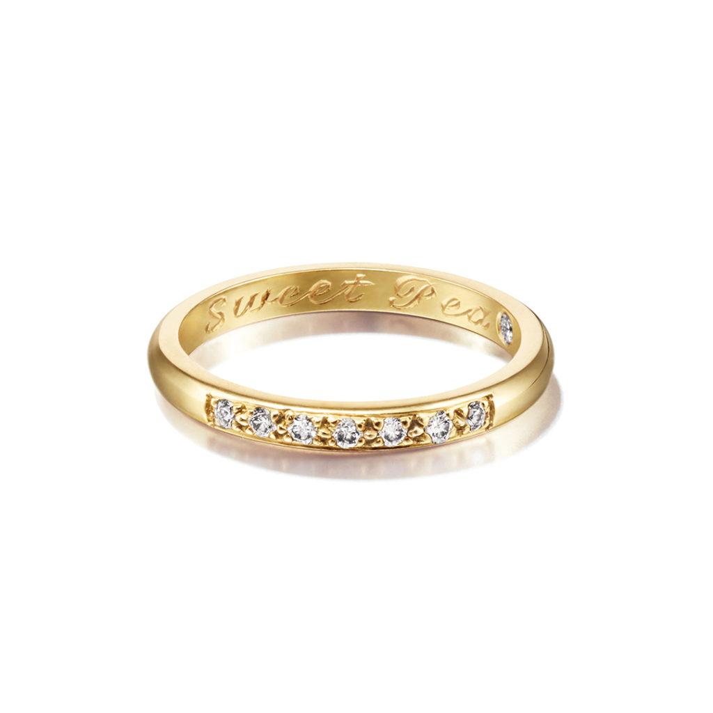 Sweet Pea 婚約指輪 結婚指輪 シンプル アンティーク ストレート エタニティ イエローゴールド