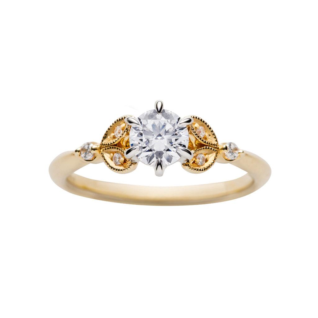 swan 婚約指輪 シンプル アンティーク 個性派 ストレート イエローゴールド
