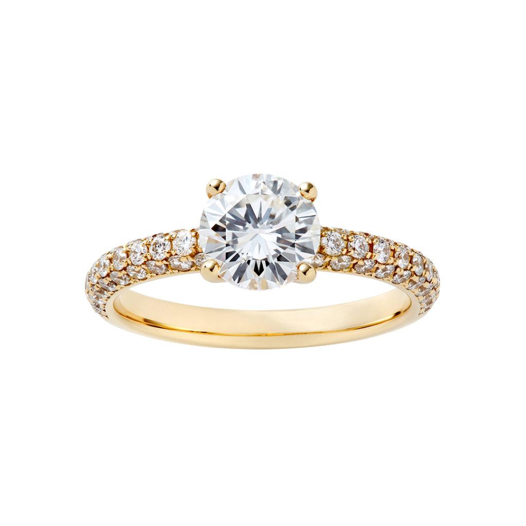 SWAN 婚約指輪 エレガント アンティーク ストレート エタニティ イエローゴールド