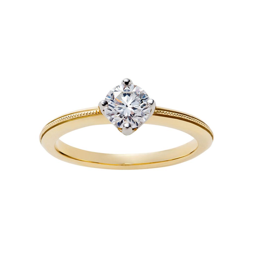 SWAN 婚約指輪 エレガント アンティーク キュート ストレート イエローゴールド