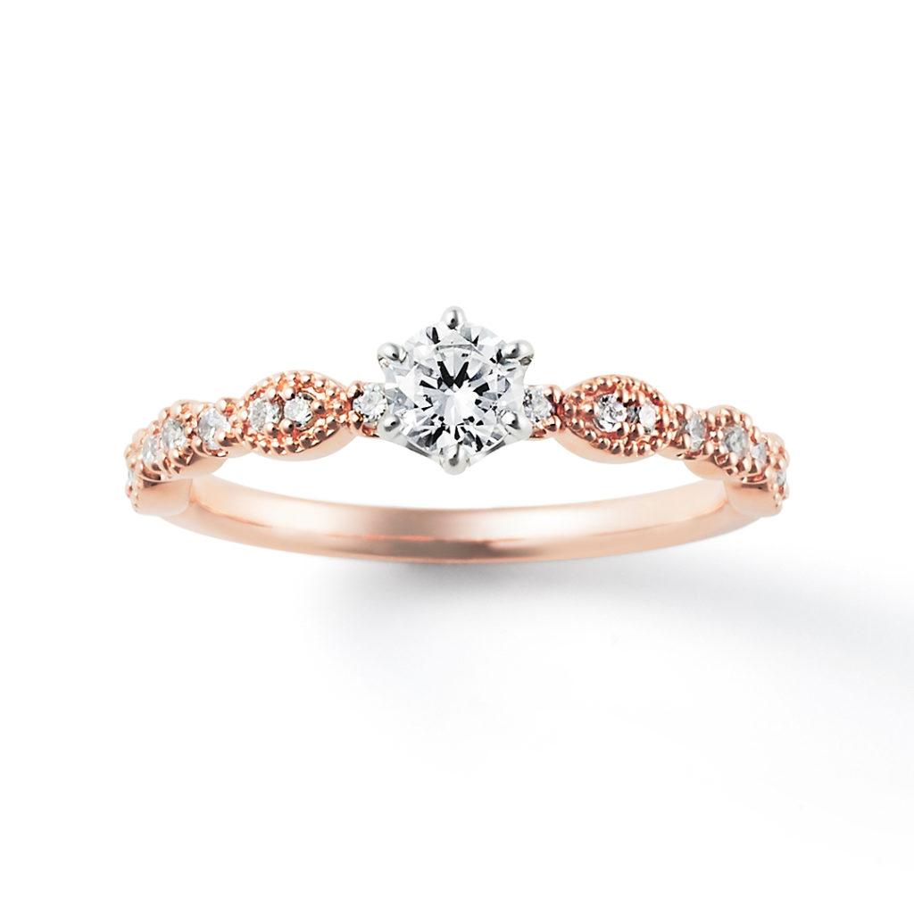 SWEET ROSE-Noisette- 婚約指輪 アンティーク キュート ストレート ピンクゴールド コンビ