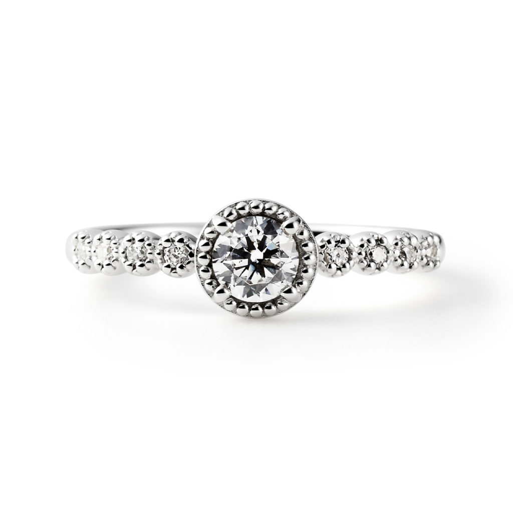 SWEET ROSE 婚約指輪 シンプル エレガント アンティーク ストレート プラチナ