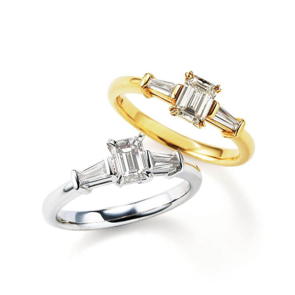 Siena 婚約指輪 アンティーク 個性派 ストレート 幅広 プラチナ イエローゴールド