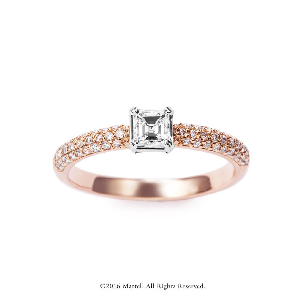 Sparkle 婚約指輪 エレガント 個性派 ストレート ピンクゴールド