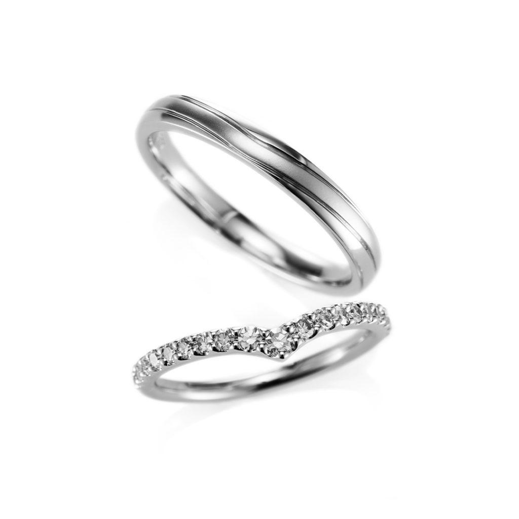 Stack 結婚指輪 シンプル エレガント V字(ウェーブ) プラチナ