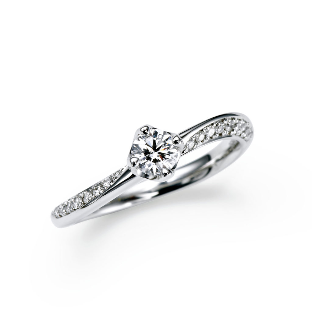 TOMOE 婚約指輪 シンプル エレガント S字(ウェーブ) プラチナ