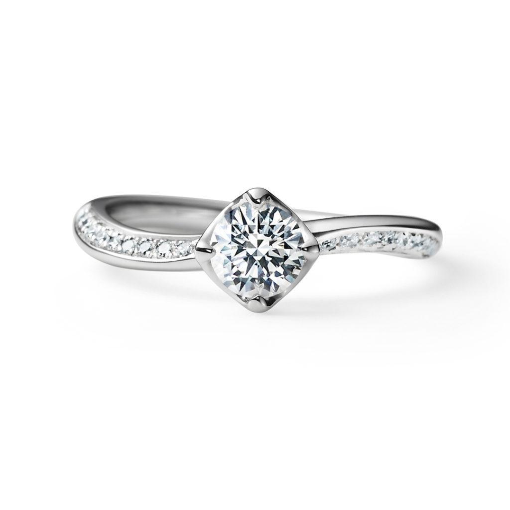 TOMOE 婚約指輪 エレガント 個性派 S字(ウェーブ) プラチナ