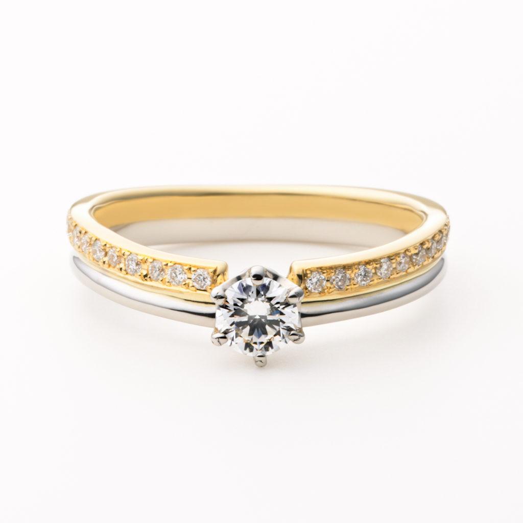 TREPPE 婚約指輪 シンプル アンティーク 個性派 V字(ウェーブ) プラチナ イエローゴールド コンビ