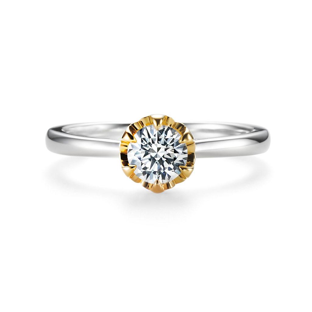 TSUBOMI 婚約指輪 エレガント 個性派 ストレート プラチナ イエローゴールド