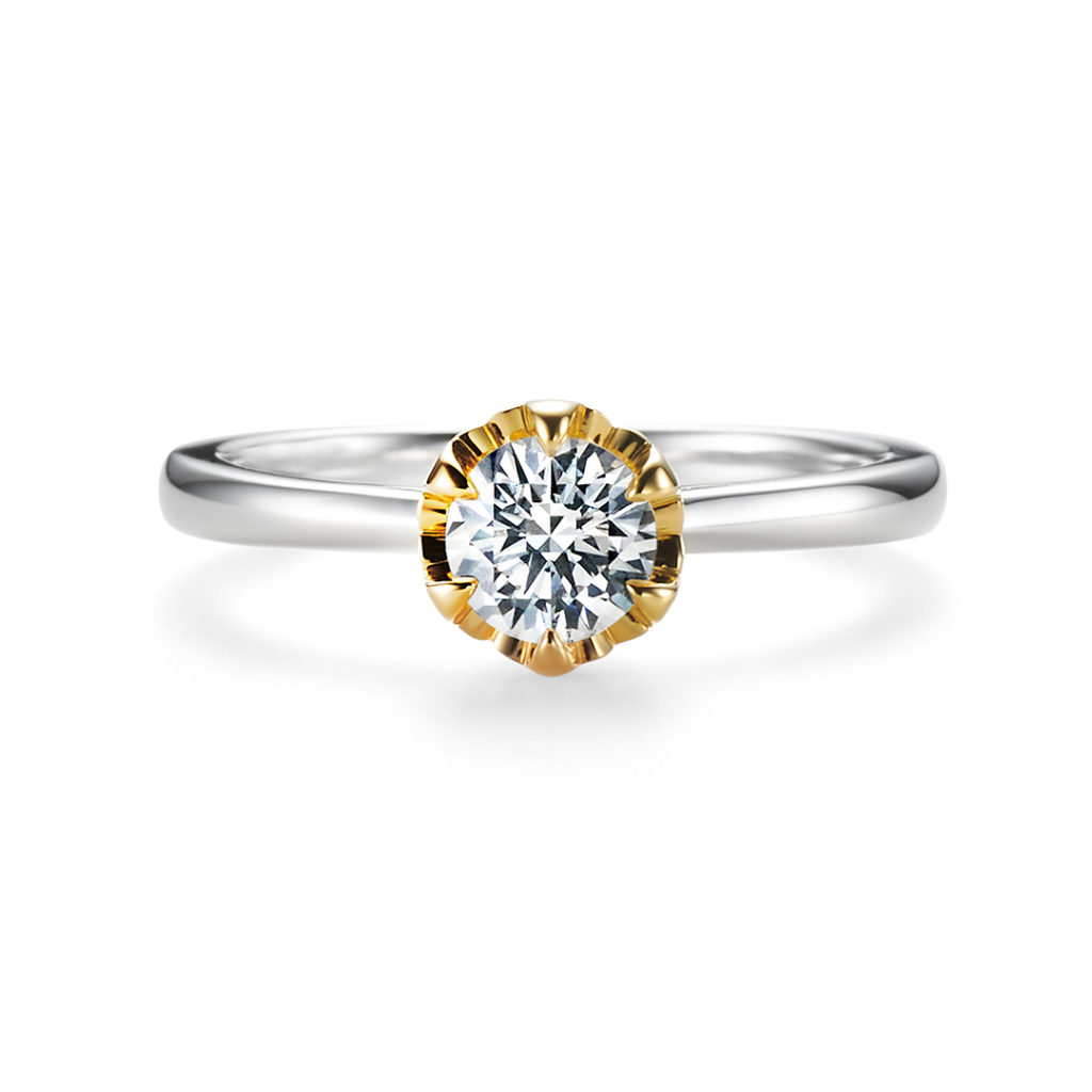 TSUBOMI 婚約指輪 エレガント 個性派 ストレート プラチナ イエローゴールド コンビ