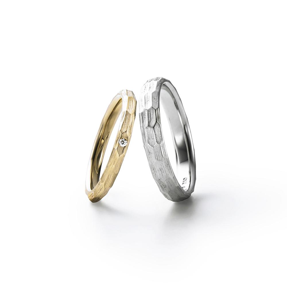TSUCHIME 結婚指輪 アンティーク 個性派 ストレート プラチナ イエローゴールド
