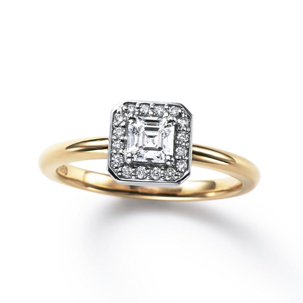 TSUZURA 婚約指輪 エレガント 個性派 ストレート イエローゴールド