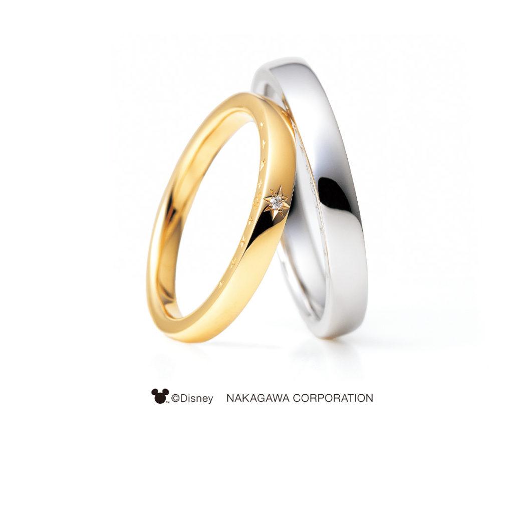 TWINKLE STAR [きらめく星] 結婚指輪 シンプル キュート 個性派 ストレート プラチナ イエローゴールド