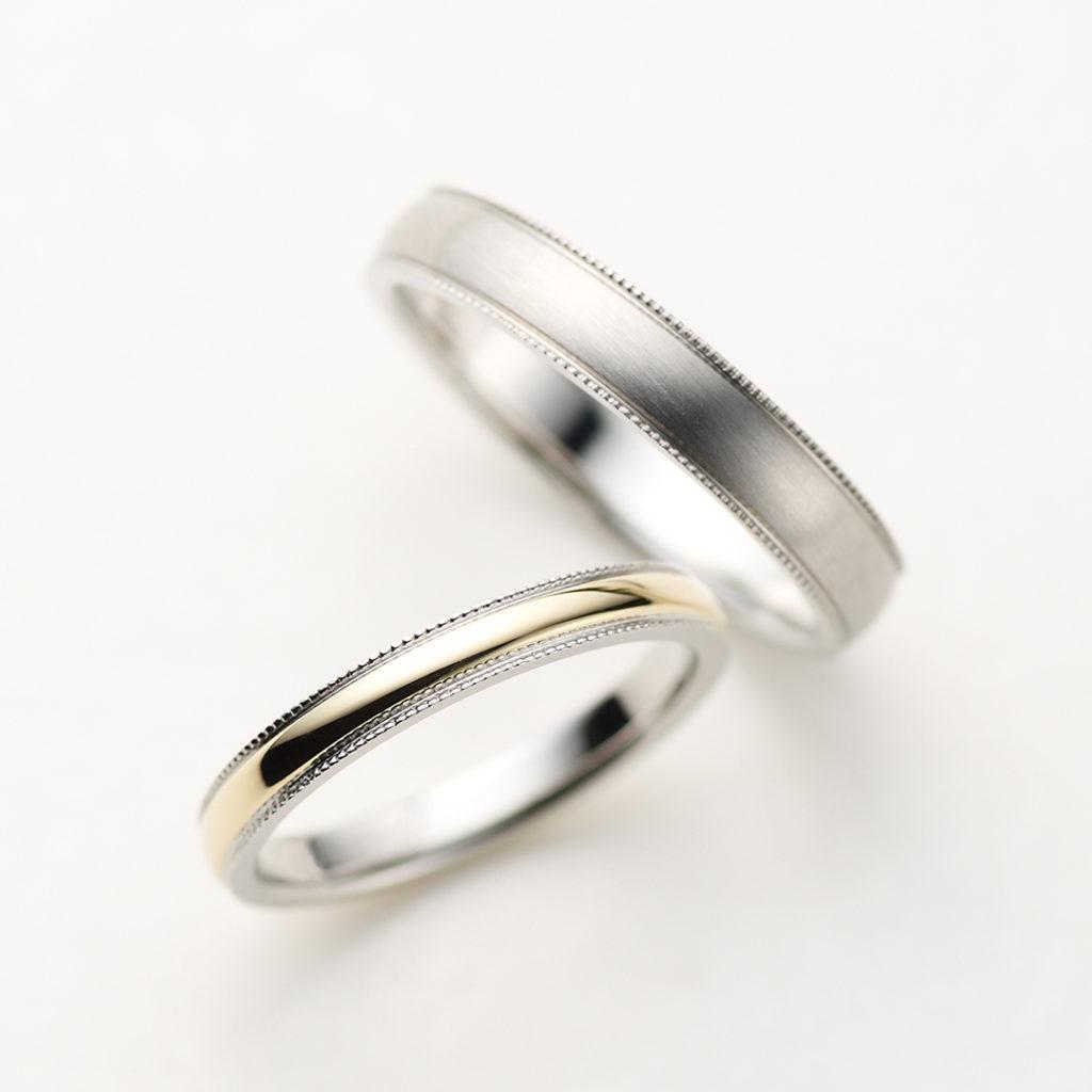 VIA 結婚指輪 シンプル アンティーク ストレート プラチナ コンビ