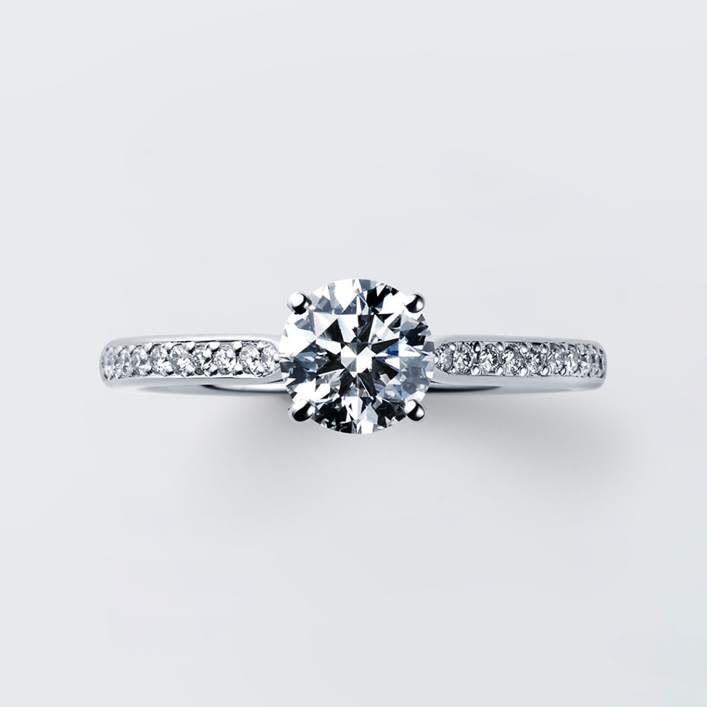 White rose 婚約指輪 シンプル エレガント ストレート エタニティ プラチナ