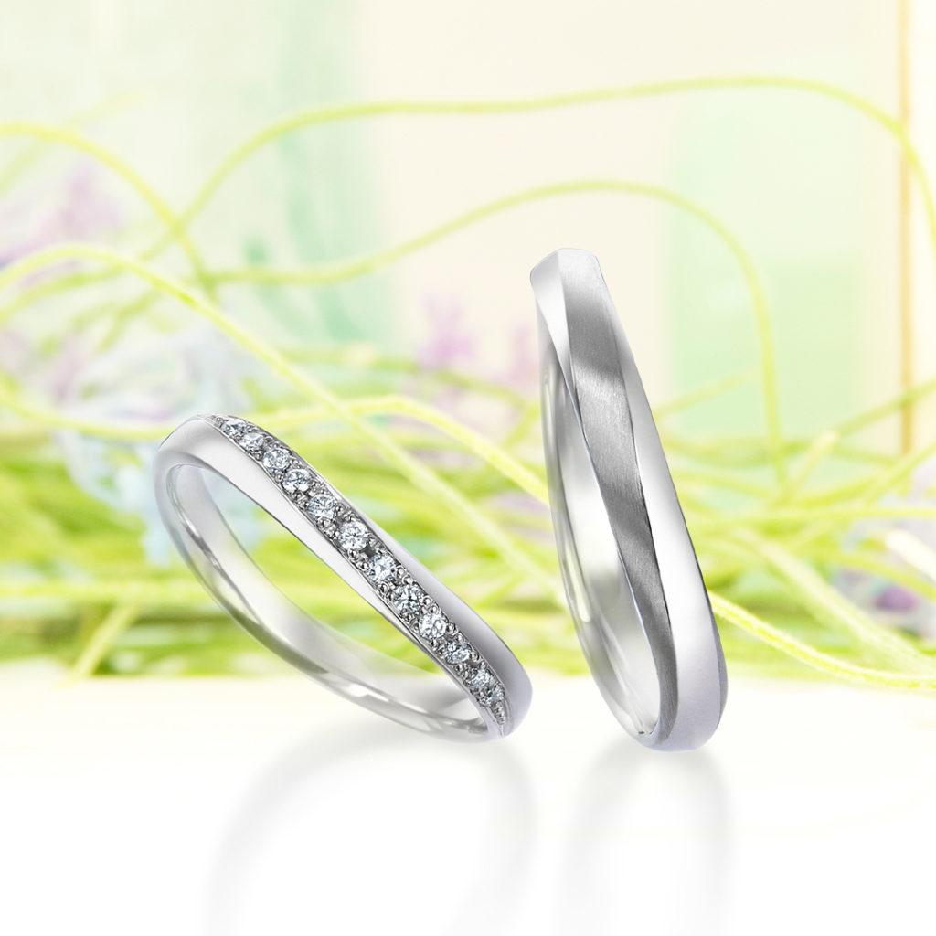 Wind of Hamiltion 結婚指輪 シンプル エレガント S字(ウェーブ) プラチナ