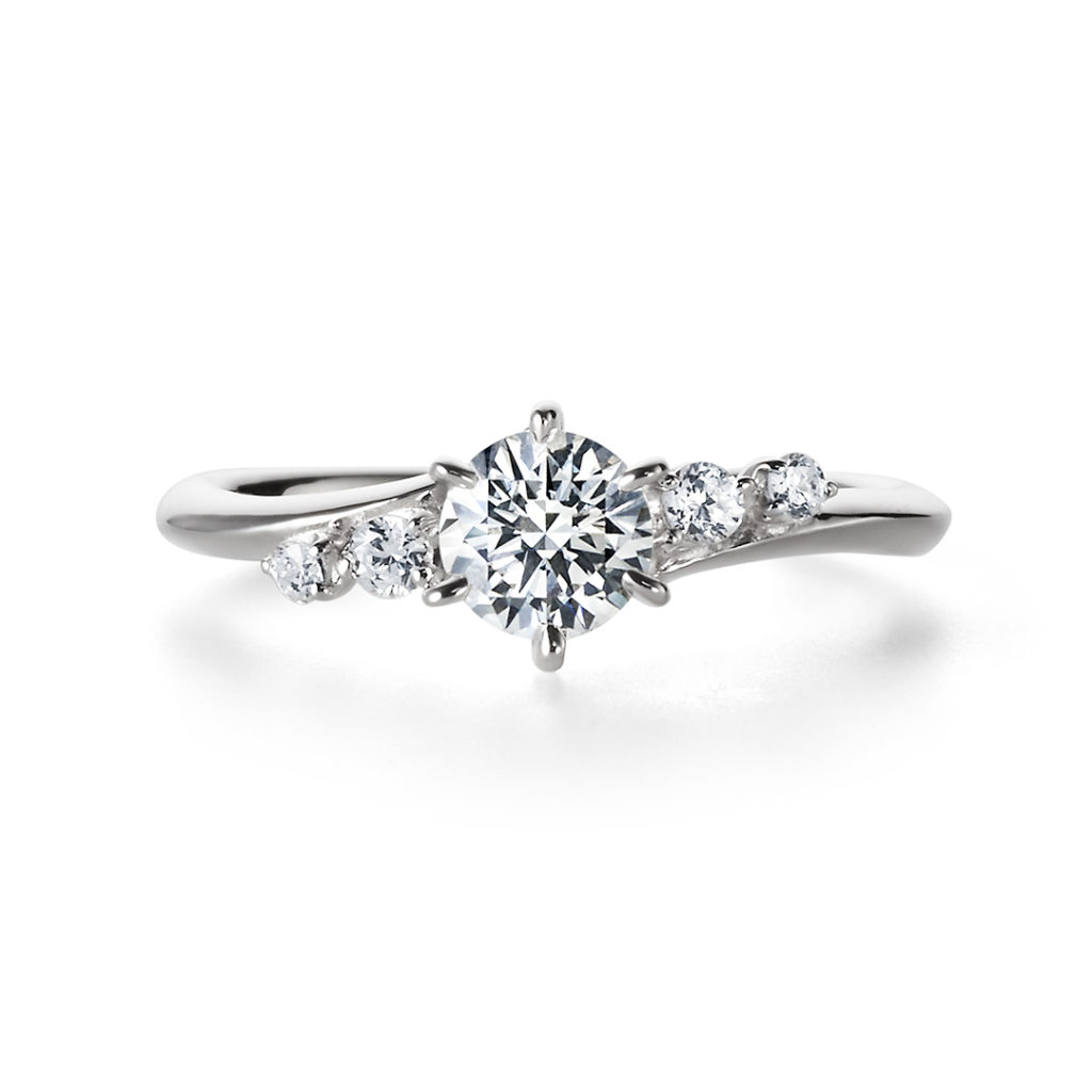YAWAKA 婚約指輪 エレガント 個性派 S字(ウェーブ) プラチナ