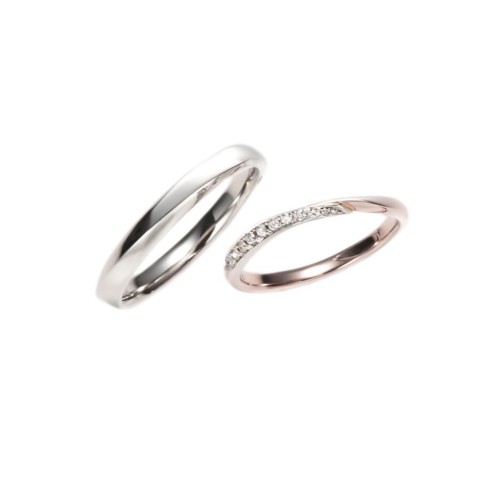 Frozen Strawberry 結婚指輪 キュート S字(ウェーブ) プラチナ ピンクゴールド コンビ