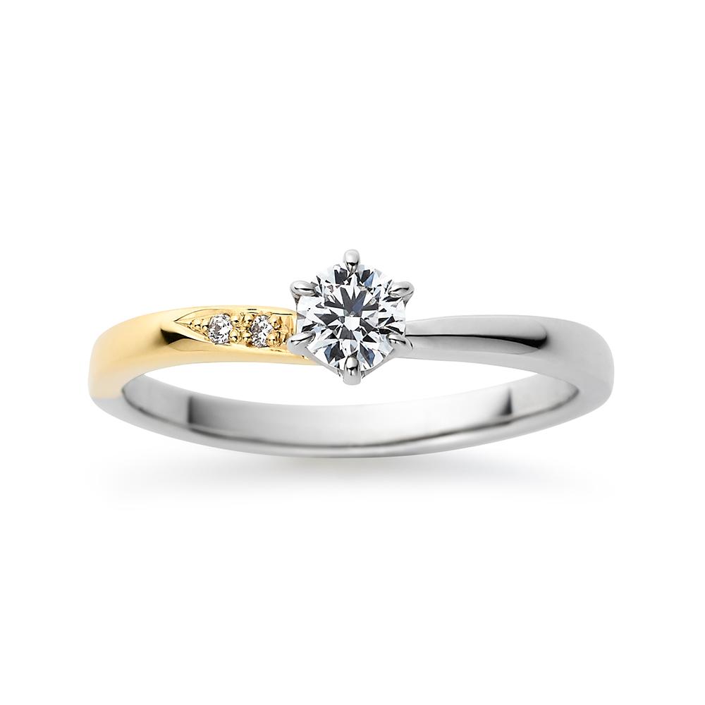 Moon 婚約指輪 シンプル ストレート プラチナ イエローゴールド コンビ