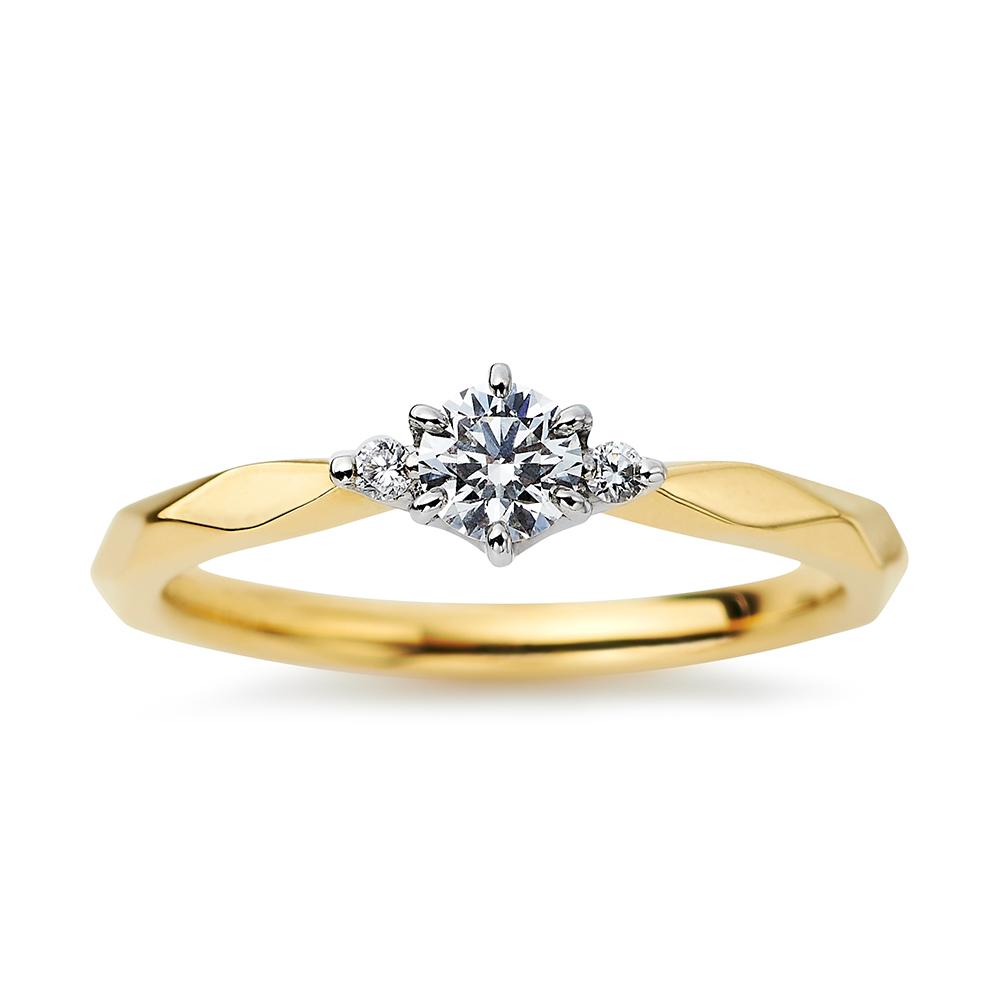 Soleil 婚約指輪 シンプル キュート ストレート プラチナ イエローゴールド