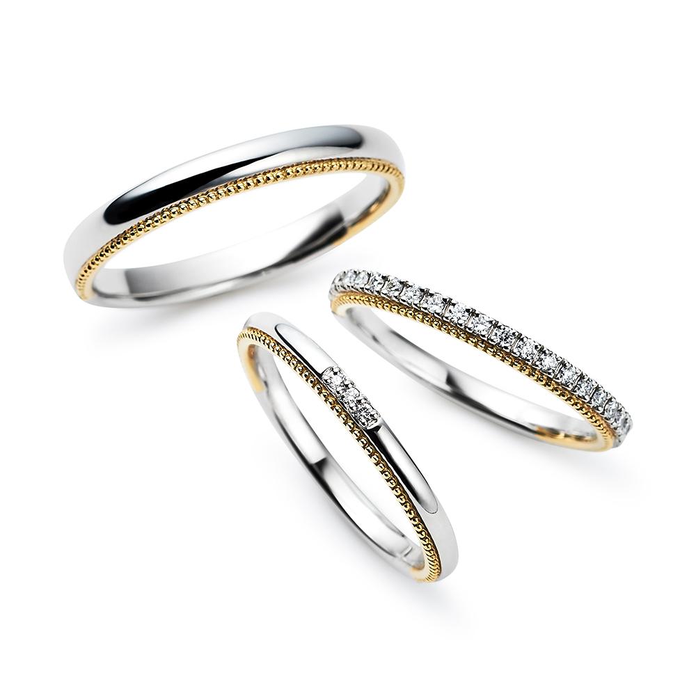 Rain drop 結婚指輪 キュート ストレート プラチナ イエローゴールド コンビ