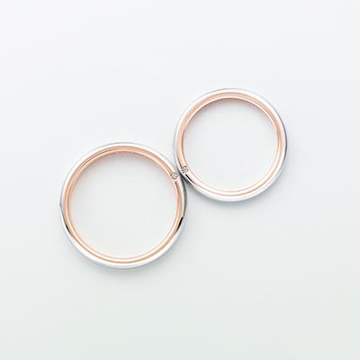 mignon 結婚指輪 シンプル ストレート プラチナ ピンクゴールド コンビ