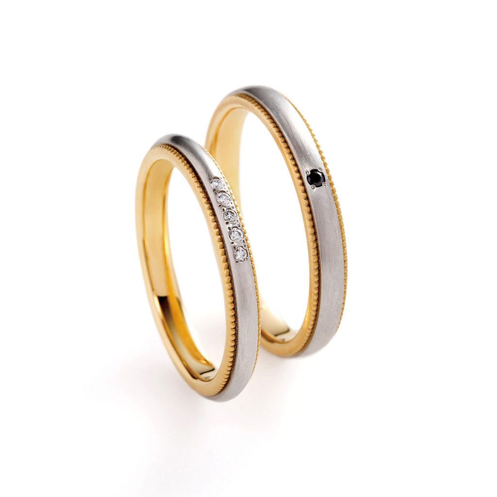 aiuola 結婚指輪 シンプル アンティーク ストレート コンビ