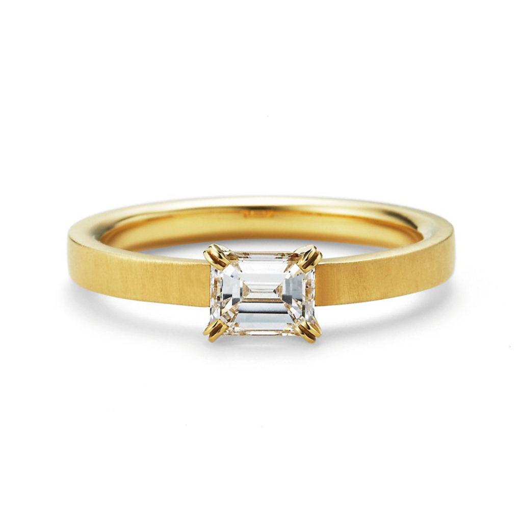 aman 婚約指輪 シンプル アンティーク ストレート イエローゴールド
