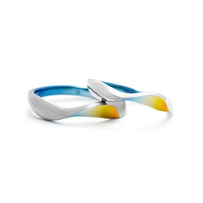 ORTUS 結婚指輪 シンプル 個性派 S字(ウェーブ) ジルコニウム