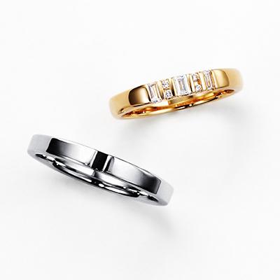 CONSTELACION 結婚指輪 エレガント ストレート プラチナ イエローゴールド